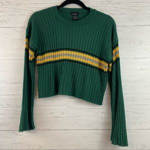 Rue 21 Green and Gold Long Sleeve Cropped Sweater